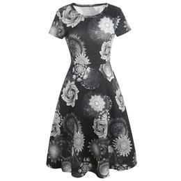 Kenancy женщин с коротким рукавом абстрактная печать эластичная одежда для работы коктейль повседневная Fit и Flare колен платье cheap fit flare knee length dresses от Поставщики платья для длинных колен
