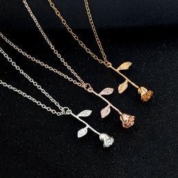 Wholesale Pink Gold Statement Necklace - whole saleHfarich Necklaces Pendant Bijoux Femme Collier 2017 Pink Gold Rose Flower Statement Necklace XL239 New Year Gift
