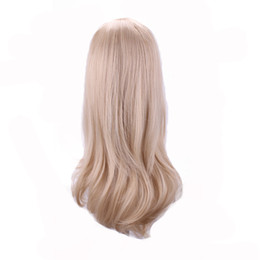 Wholesale Cm Pictures - wig wavy WoodFestival blonde long wavy wig 60 cm heat resistant cosplay synthetic wigs for women hair high temperature fiber real picture