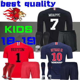 03b956211 2018 2019 kids kit camisas de futebol 18 19 mbappe home VERRATTI CAVANI  criança Buffon RED psg SHIRT Jordam Champions League manga longa BOYS