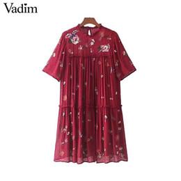 Vadim dolce ricamo floreale vestito paillettes paillettes pieghettato colletto arruffato mini abiti manica corta vestidos mujer QZ3275Y1882302 da