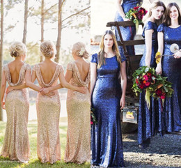 7701e3cddb Sequins Bridesmaid Dresses 2018 with Cap Sleeves   Open Back Golden Bling  Bling Formal Event Party Dress Floor Length under 150
