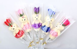 Wholesale Flowers Teddy Bears - Home Flower Bouquet 1 Scented Soap Roses With Cute Teddy Bear Birthday Mother's Day Valentine's Present- 5 Colour