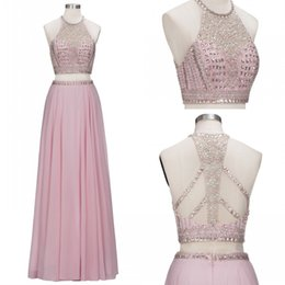 Wholesale two piece prom dress champagne blush - 100% Real Photos Hot Sell Blush Pink Two Pieces Prom Dresses A Line Rhinestones Crystals Beaded Neckline Backless Evening Gowns BA8996