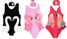 Wholesale Swim Cap Baby - 2018 Baby Girls Swimsuit Cartoon Kids Swimwear with Swimming Cap 2pcs Set Parrot Swan Flamingo girl bathing suit One Piece swim wear