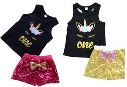 Wholesale Sexy Short Pajama Red - Cute Unicorn Girls T-shirts Shorts sets Sequins Short Pants Tees Tops Suits Cotton Sleepwear For Girls Kids 90c m 100cm 110cm 120cm 130cm