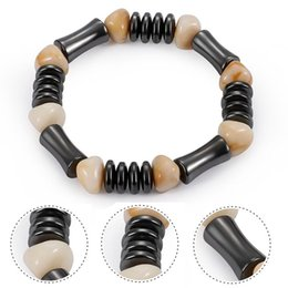 Wholesale vintage chinese bracelet - Simple Vintage Resin Bead Women Bracelet Bamboo Shape Black Gallstone Beaded Bracelets Chinese Style Meditation Wristband Men Yoga H555Q