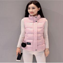 Wholesale Mandarin Collar Waistcoat - LISYRHJH 8 color Women Winter Vests 2017 New Lightweight Slim Short Vest Cotton Padded Jacket Sleeveless Female Collar Waistcoat