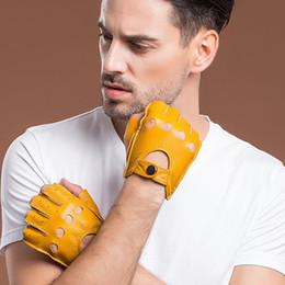 guanti da lavoro in pelle manica con manico Sconti Guanti di pelle genuini degli uomini di nuovo arrivo di alta qualità Guanti senza dita in pelle di pecora sfoderati, mezzo dito, guanti da guida