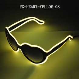 Em forma de coração FG-HEART-YELLOW luz óculos el fio Frio linha de luz óculos com 3 V Driver Para o Casamento make-up Cosplay de