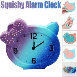 Wholesale anti clock - Squeeze Alarm Clock Squishy Slow Rising Decompression Toys Easter Gift Ring Bell Toy s Anti Stress Alarm Clock Squishy KKA4472
