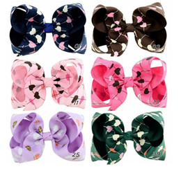 love hair Promo Codes - 4 inch Child clip hair accessories Cute bow children's hair clip Multicolor love printing patterns hair accessories