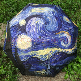 2019 óleo de arte de tigre Novo Van Gogh Pintura A Óleo Artes Classe Pintura A Óleo Guarda-chuva À Prova D 'Água À Prova de Chuva Unvi Guarda Chuva Dobrável Guarda Chuva 20 pcs óleo de arte de tigre barato