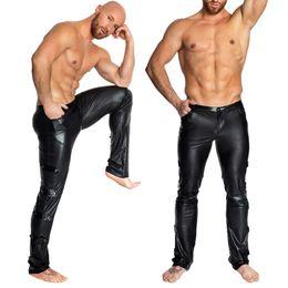 2019 ropa de moto sexy Club nocturno Ropa interior de PVC erótica Locomotora Traje sexy de cuero de imitación de los hombres Ropa de rendimiento Medias fetiche Pantalones de motocicleta rebajas ropa de moto sexy