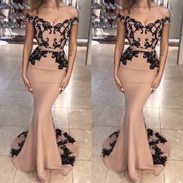 Deutschland Schulterfrei Schwarz Applique Long Mermaid Prom Kleider 2018 Sexy Backless Abendmode Abendkleider Nach Maß Versorgung