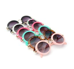 Wholesale children rounds - kids retro sun shades infant goggles eyeglasses sunglass Boys Girls Children Round Sunglasses Eyewear 6 COLOR KKA4411