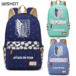 Wholesale titan mikasa - WISHOT Anime Attack on Titan Canvas bag Flower wave point backpack for teenagers Girls School travel ShoulderBag Mikasa