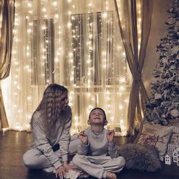 2019 blau geführtes helles licht 4M * 2M 4M * 3M 4M * 4M 4M * 5M LED Schnur-Licht-Garten-Feiertags-Lichter im Freien feenhafte geführte Vorhang-Girlanden-Streifen-Hochzeitsfest-Dekoration 220V 110V