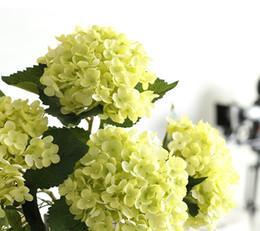 Feuilles de fleurs artificielles en Ligne-fleur artificielle hortensia fleur en soie avec tige et feuille pour wed décoration maison décoration wed bouquet en blanc vert rose bleu royal