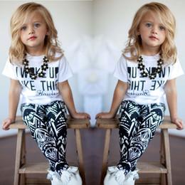 a letra caçoa o tshirt Desconto Verão eu Acordei Como Esta Carta Geometria Impressão Crianças Meninas Tshirt Calças 2 pcs Conjuntos Crianças Camiseta Tops Trousrs Outfits Casual C068