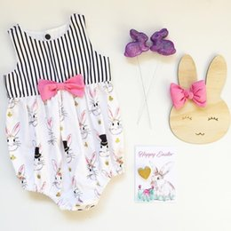 Wholesale Girls Christmas Gift Ideas - Newborn Baby Girls Bunny Bowknot Romper Jumpsuit Easter Outfit Princess Toddler Kids Summer Clothes Gift Ideas 0-24M KA737