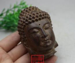 sculture in legno statue Sconti China collection old wood carving La statua della testa di Buddha