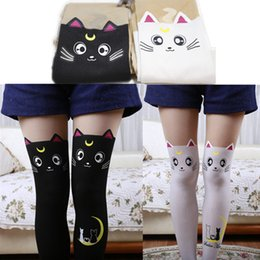 cosplay de matelas noires Promotion Sailor Moon Chat Luna Bas Chaussettes  Collant Anime Cosplay Props Noir a079e4c06fa