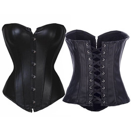 Wholesale Tight Lace Up Corset - Gothic Black Faux Leather Overbust Corset Sexy Plus Size Tight Lace Up Back Leather Steampunk Corset Tops For Women W161361