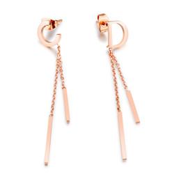 Wholesale Bar Drop Earrings - Chic C & D Letters Dangle Earrings For Women Rose Gold Color Female Ladies Party Long Bar Drop Earrings Dropshipping