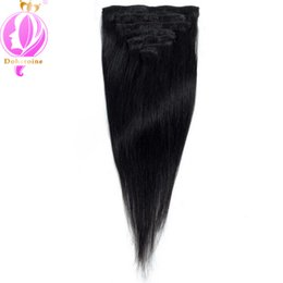 Wholesale Human Hair Free Shipping - Doheroine Brazilian Peruvian Indian Malaysian Straight Hair 7Pcs Set #1Jet Black Clip In Human Hair Extension Free Shipping Wholesale prices