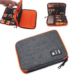 Wholesale Cell Stuff - Universal Travel Case Electronics Accessories Stuff Sacks Outdoor Storage Bag Power Bank Cell-phone double layer Data Cable Bag KKA3852