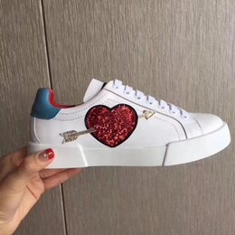 Wholesale Branded Trainers - New fashion Luxury Brands designer sneakers lace-up White trainers Leather Flats sneakers women Classic Casual Shoes sneakers SZ 35-41