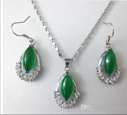 Wholesale 14k White Gold Emerald Earrings - Wholesale - Emerald Malay Jade Necklace Pendant Earrings Set of 2 Fashion Sets