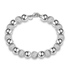 Wholesale Cheap Sterling Silver Charm Bracelets - Christmas gift cheap Free Shipping hot sell 925 Sterling Silver Plated fashion jewelry charm 8mm bead bracelet