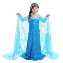 Wholesale 5t Girls Halloween Costumes - Luxury Cosplay dress for girl Long sleeve Tulle Maxi Princess dress Costumes Stage clothing Crystal Fairy Tales Sea blue Boutique 2018