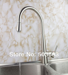 Wholesale Brushed Nickel Kitchen - Fashion Pull out Swivel Brushed Nickel Brass Kitchen Faucet Spout Vessel Basin Sink Double Handles Deck Mounted Mixer Tap MF-454