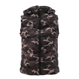 Wholesale Camouflage Waistcoat - Men'S Waistcoats Winter Sleeveless Thickening Jackets Warm Causal Manly Sleevele Camouflage Printed Zipper down Vest Men A5069