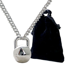 Wholesale Weight Plate Jewelry - Kettle bell pendant necklace stainless steel chain lifting weight fitness hippie strength necklace men's fitness jewelry wholesale