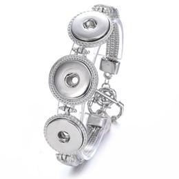 Wholesale metal slide tin - Metal Alloy Noosa 3 Chunks Bracelet Adjustable Snap Button Bracelet Silver Snap Bracelets Women Jewelry
