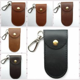 Wholesale Leather Knife Sheaths Wholesale - Loop Leather Sheath Knife Flashlight Holder U Disk Storage Case With Special Cover Portable Key Buckle Tool Pouch 8.5*4.5cm AAA44