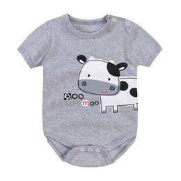 Bonito Leite Gado Vaca Bodysuits Bebê Cinza Moda Bebê Meninos Roupas 100% Algodão Leiteria Milch Recém-nascido Macacão Babywear 0-2 Ano cheap milk dairy cow de Fornecedores de vaca leiteira