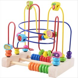 wooden maze beads Coupons - Baby puzzle Learning Early Education Wooden Multi-function Box Round Bead Maze Roller Toys