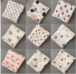 Wholesale Newborn Baths - Blankets Muslin Baby Swaddling Cotton Newborn Infant Blanket Baby Swaddles Bath Towel Newborns Blankets 45 Styles DHL Free Shipping