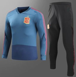 Wholesale Spain National Team - AAA+ quality 2017 2018 Spain Training suit 17 18 Spain aorld cup national team Ramos Isco Silva Fabregas CHANDAL TRACKSUIT football suit
