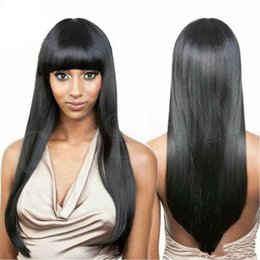 Wholesale Long Anime Wigs - Light Black Wig Extra Long Straight Wig Neat Bangs Cosplay Anime Wigs , 250% Density lace front wig for black women