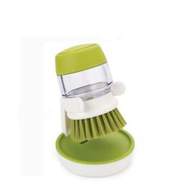 Скольжение онлайн-Жидкое мыло Кисть для стирки моющих средств для мытья посуды Скраб для посуды Щетки для очистки Пластик Силиконовый Зеленый Серый Non Slip Hot Sale 11dj V