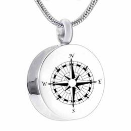 Edelstahl-medaillon-anhänger online-Kompass Edelstahl Runde Form Feuerbestattung Urn Halskette Medaillon Anhänger Asche Schmuck für Männer Frauen