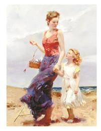 """wüstenmalereien Rabatt PINO DAENI """"Zuneigung Mutter Kind Strand"""" handgemalte Porträtkunst Ölgemälde Auf Dickem Leinwand Wanddekoration Multi größen, FP47 #"""
