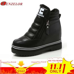 179094f78b4 BENZELOR Winter PU Leather Thick Soled Wedges Heels Casual Ankle Boots  Women Shoes Woman Sneakers Platform Velvet Ladies Femme
