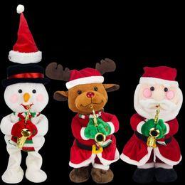 2019 chapeaux d'anniversaire drôles Drôle Kawaii Musique Poupée Pour Enfants Fête D'anniversaire Cadeau Cadeau Père Noël Elk Bonhomme De Neige Chapeau De Noël Électrique En Peluche Jouets 37ll BB chapeaux d'anniversaire drôles pas cher
